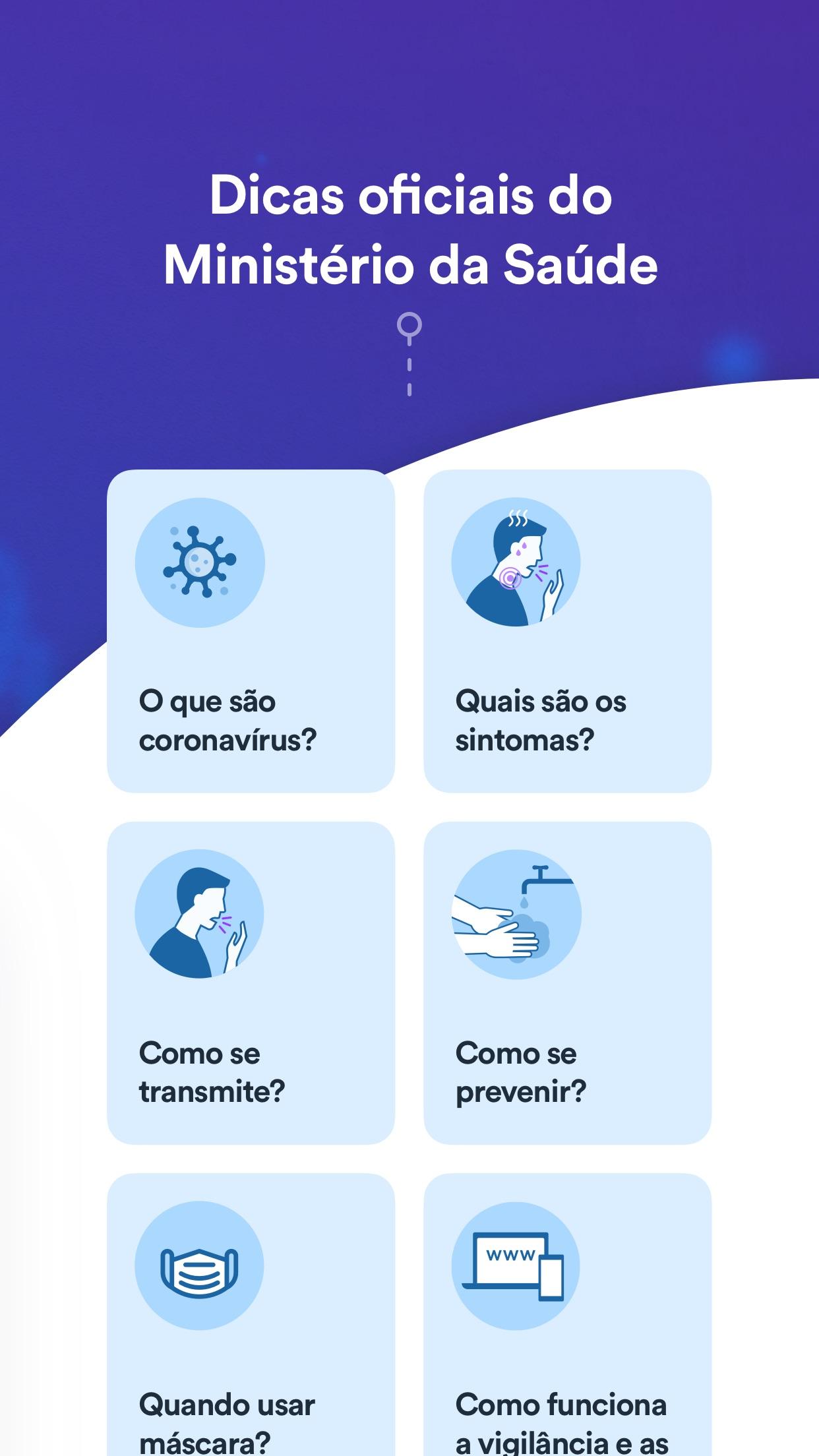 Coronavirus - SUS app screenshot