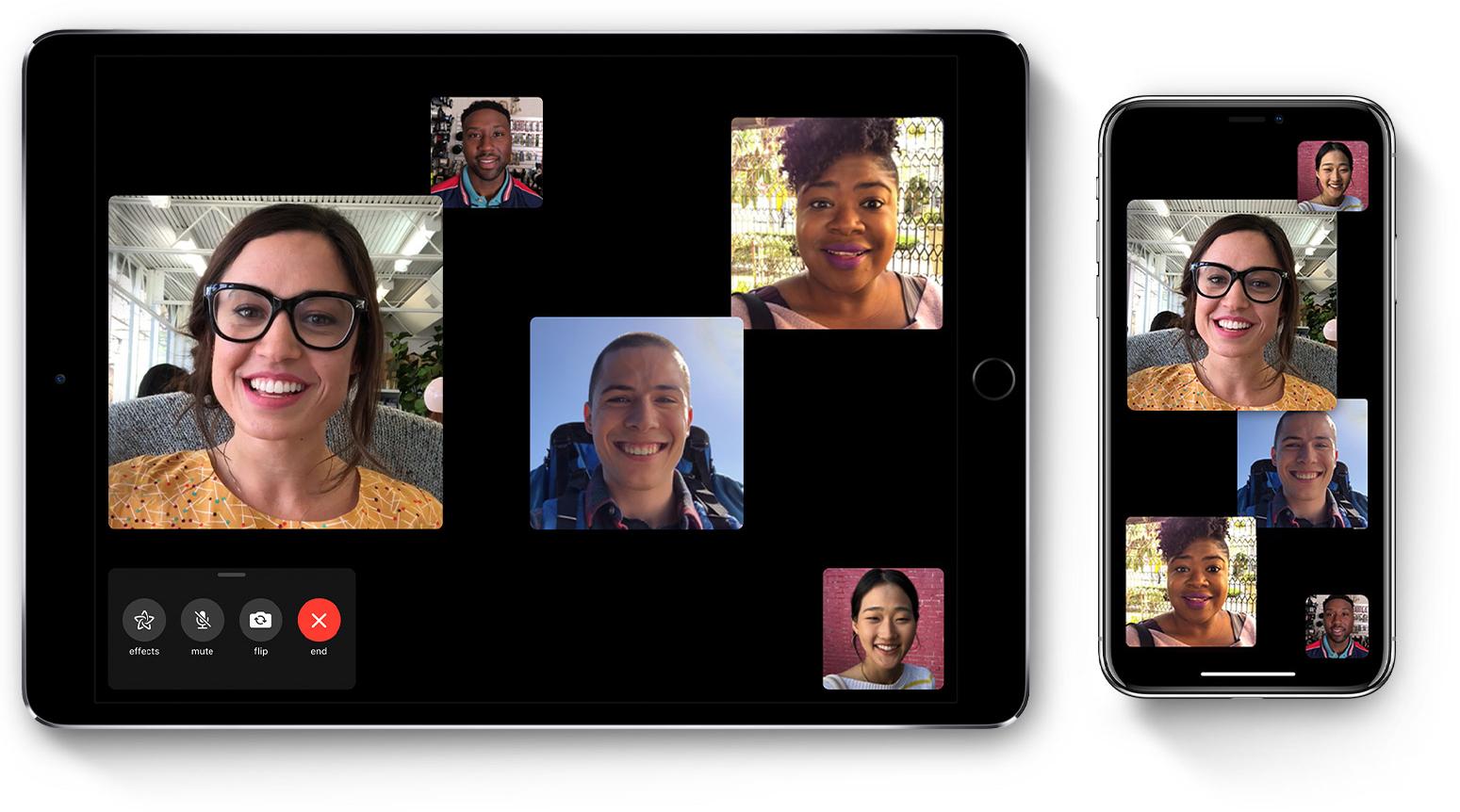 FaceTime em grupo no iPhone e iPad Pro