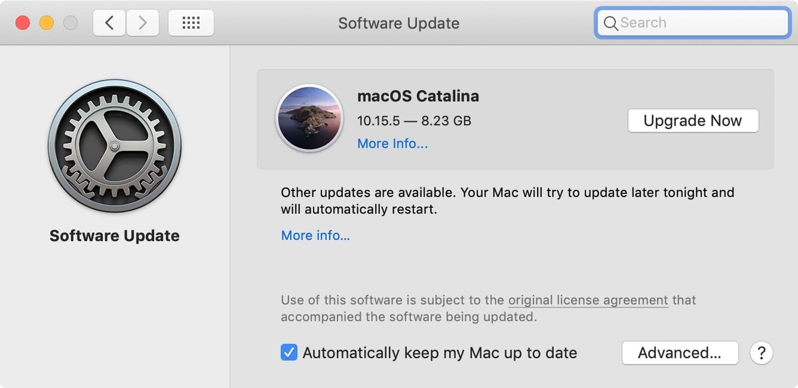 Atualização de Software para o macOS Catalina