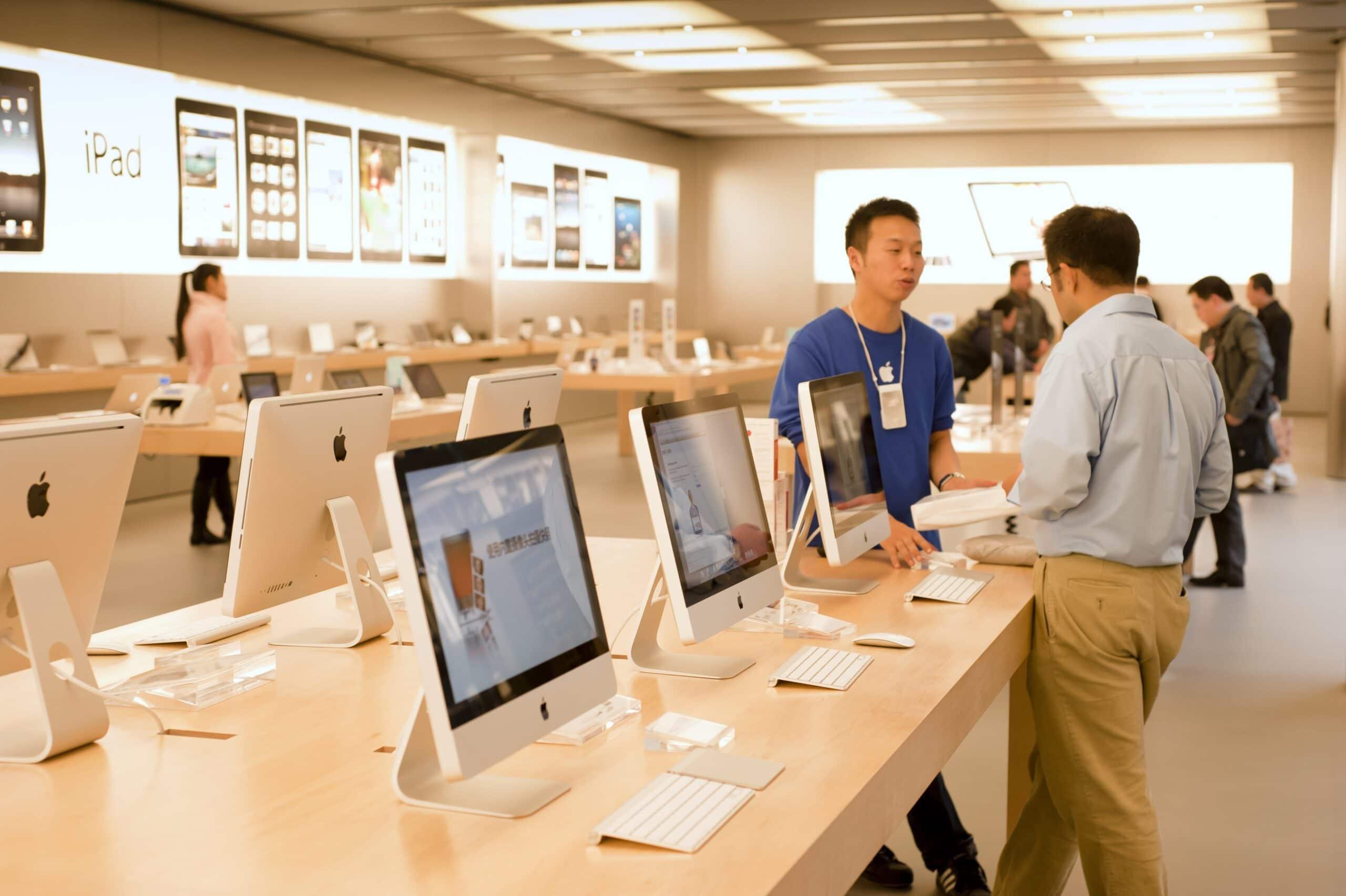 Interior de loja da Apple em Xangai (China)